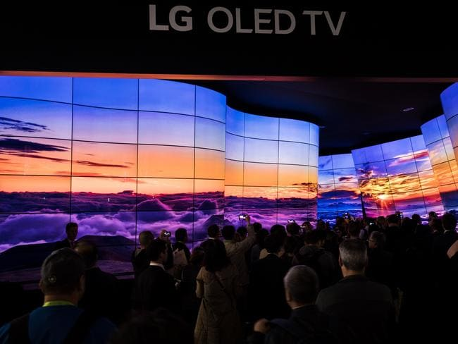 "The ""Grand Canyon"" flexible OLED TV display at LG's Consumer Electronics Show booth. Picture: Jennifer Dudley-Nicholson"