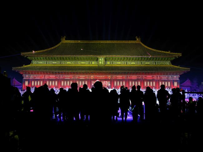 Stunning view ... people celebrate New Year's at the Ancestral Temple in Beijing, China. Picture: Lintao Zhang/Getty Images