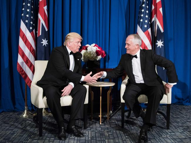 Dominant grip: Donald Trump and Malcolm Turnbull shake hands on board the Intrepid Sea, Air and Space Museum in New York in May. Picture: AFP