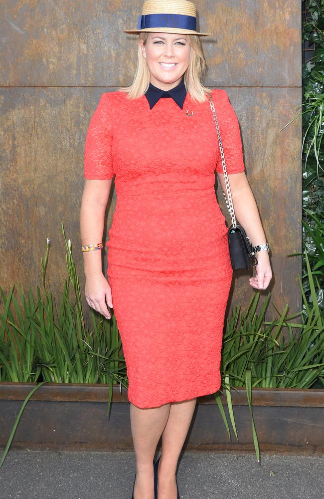 Samantha Armytage in the Birdcage on Melbourne Cup Day at Flemington. Picture: AAP Image/Tracey Nearmy).