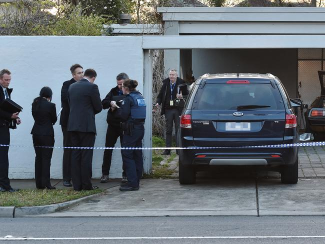 Police investigate after two bodies were discovered in a house at 81 Princess Street, Kew. Picture: Jake Nowakowski