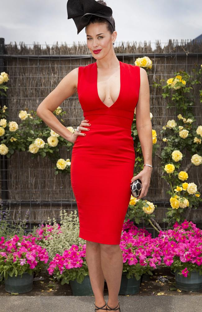 Megan Gale at the Melbourne Cup. Photo: Nathan Dyer.