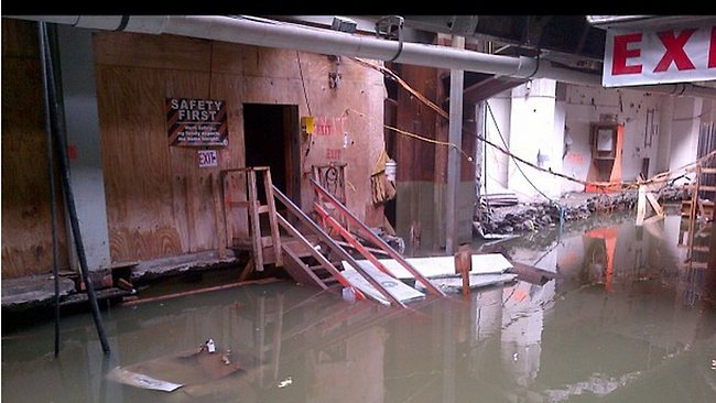 Flooding at the Path station beneath the World Trade Centre, New York. Picture: nygovcuomo / twitter