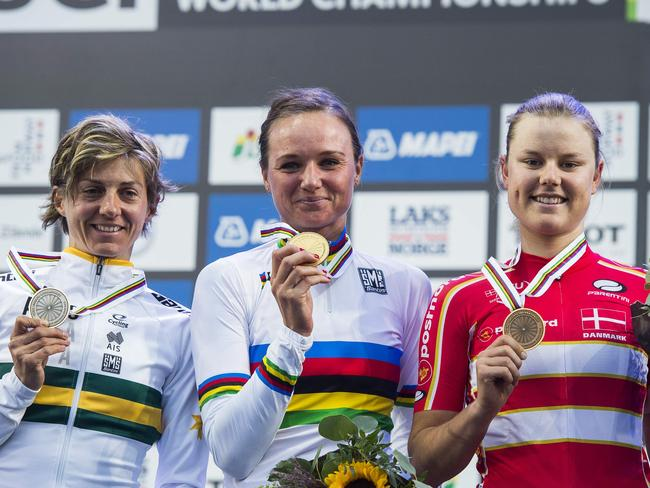 Podium after the women's road race in Norway.
