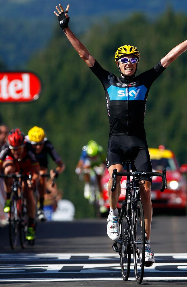 Christopher Froome wins the corresponding stage in 2012. You can see Cadel Evans giving chase in the background.