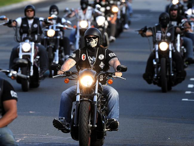 Bikies around Australia have challenged laws to control violence and drug trafficking which are now declared 'useless' by government. Picture: Joe Castro/AAP