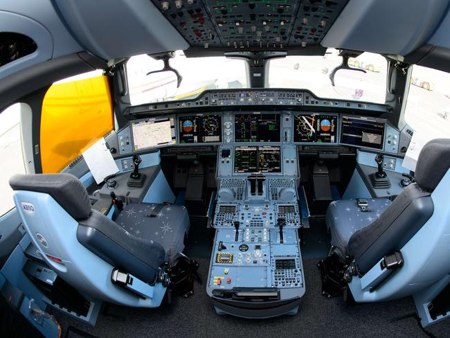 The interior view of the flight deck of an Airbus A350XWB test plane.