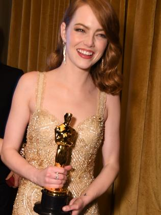 Emma Stone with her Oscar for Best Actress in La La Land. Picture: AFP