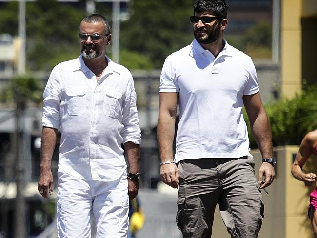Singer, George Michael spotted with then boyfriend Fadi Fawaz in Sydney. Picture: Supplie