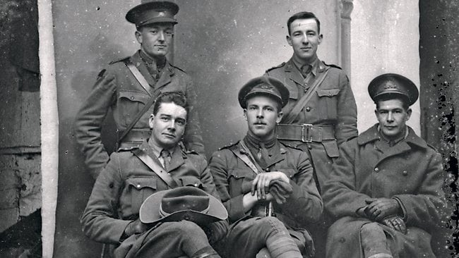 Seated, from left, Capt TK Maltby, Capt EGT Permezel and Lt GL Makin; standing, Lt HM Griffiths, left, and Lt JW Dwyer. Picture: Australian War Memorial