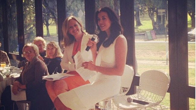 Megan Gale and Helen McCabe at the star-studded High Tea in Sydney's Centennial Park on Tuesday. Picture: Supplied