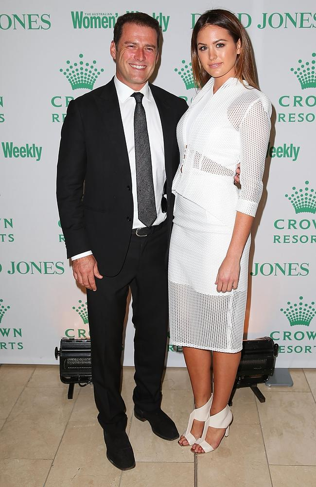 Karl Stefanovic and Jesinta Campbell arrive at the David Jones and Crown Resorts Autumn Racing Ladies Lunch at David Jones in Sydney. Source: Getty Images