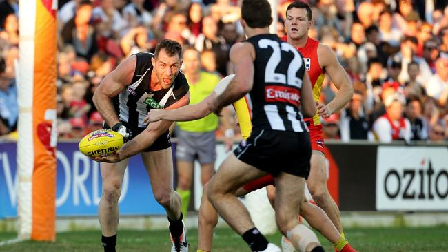 Collingwood's Travis Cloke was influential in the first term. Picture: Adam Head