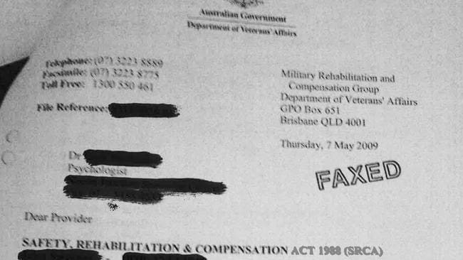 Private ... One of the personal documents received by a veteran with an FOI file. Pic supplied.