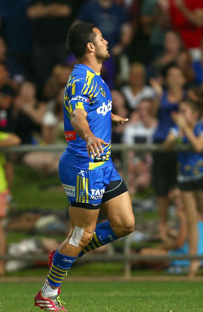 Jarryd Hayne of the Eels celebrates his try.