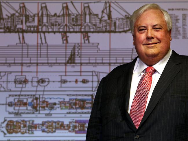 Sinking feeling ... Mining magnate and politician Clive Palmer gives the media an update on the progress of his Titanic II ship construction.