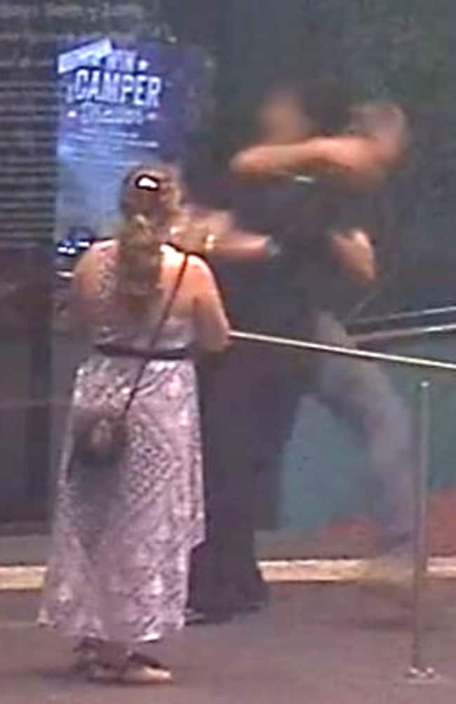 The sickening moment a woman at work is coward punched in Queensland. Picture: Police Media