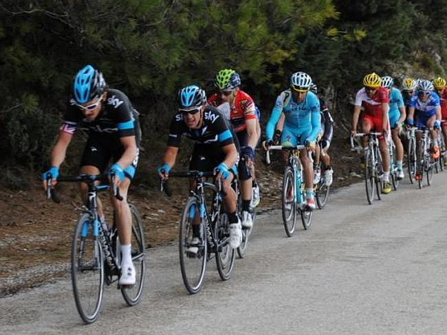 Geraint Thomas Leads Richie Porte during the Vuelta Andalucia Ruta Ciclista Del Sol.