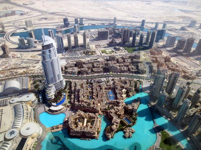 Other skyscrapers and structures, along with pools, surround the Burj. Picture: Kate Schneider