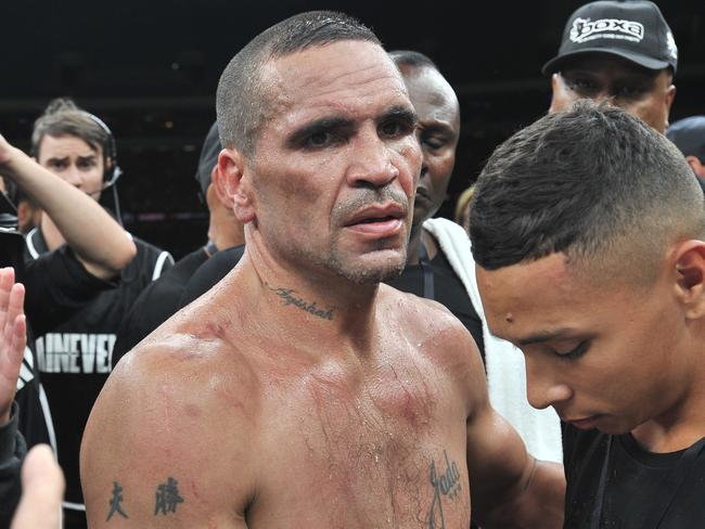 Anthony Mundine after a fight. Picture: AAP