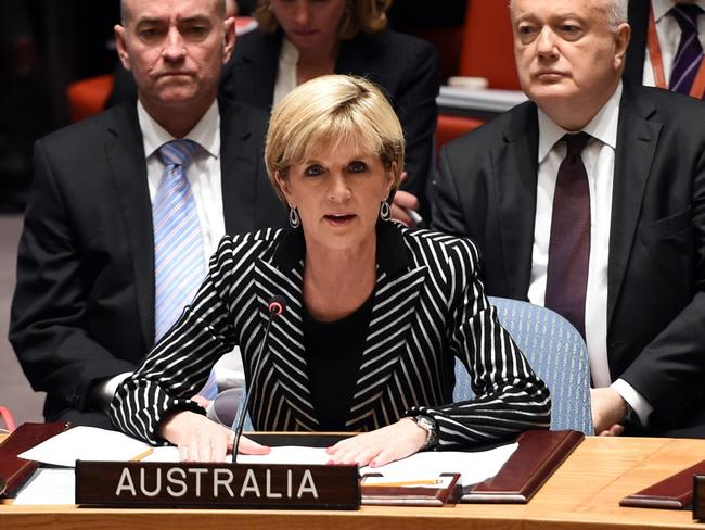 "Foreign Minister Julie Bishop spearheaded a resolution demanding ""full and unfettered access"" to the MH17 crash site. Pic: AFP"