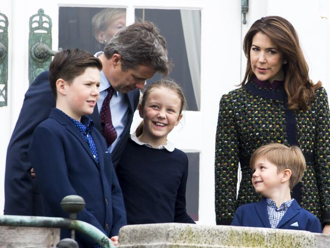 Crown Prince Frederik, and Crown Princess Mary of Denmark with children, Prince Christian of Denmark, Princess Isabella of Denmark, and Prince Vincent of Denmark Celebrate Queen Margrethe of Denmark's 77th Birthday at Marselisborg Palace on April 16, 2017 in Aarhus, Denmark. Picture: Julian Parker/UK Press via Getty Images