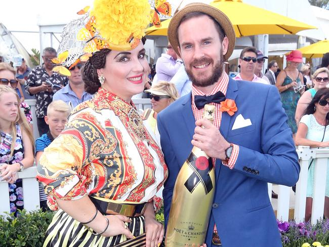 Fashions on the Field winners Inessa McIntyre and Kaan Whittal. Picture: Richard Gosling