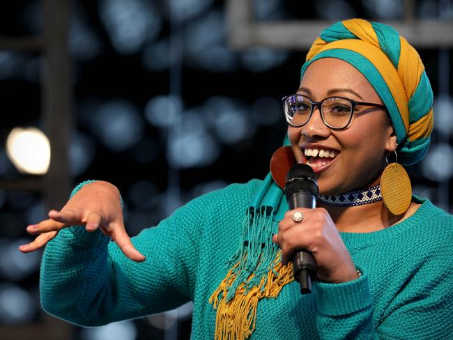 Author Yassmin Abdel-Magied examine issue of racism, multiculturalism and human rights in Australia. (Author and writer Joy Lawn — moderator). Photo by Chris Pavlich for The Australian