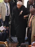 WIRE: Former South African Former President Nelson Mandela arrives to attend the memorial of his great-granddaughter Zenani Mandela at the St Stithian's College Chapel in Sandton, north of Johannesburg, South Africa, Friday, June 17, 2010. Thirteen-year-old Zenani Mandela was killed in a car that overturned on June 10 as it took her home from a pre-World Cup concert in Soweto. (AP Photo/Themba Hadebe, POOL)