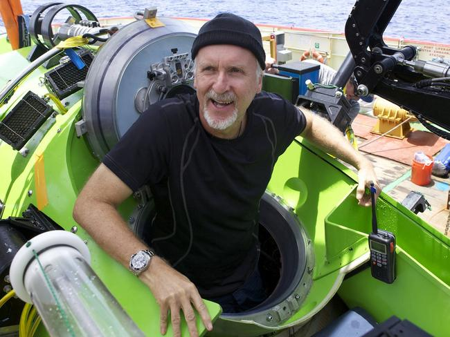James Cameron emerges from the Deepsea Challenger submersible after his successful solo dive to the Mariana Trench. Picture: Mark Thiessen / National Geographic