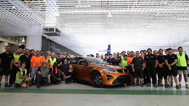 HSV staff with the last HSV W1 built, in the final days of assembly at Clayton. Picture: Joshua Dowling.
