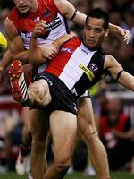 Former Hawk Shane Savage was celebrating his first game for the Saints as St Kilda downed Melbourne. Picture: Colleen Petch