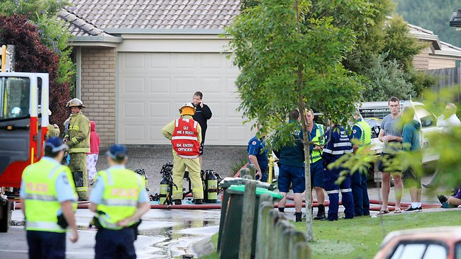 Emergency services at the scene of a house fire at Bracken Ridge in Brisbane's north. PIC: Adam Smith
