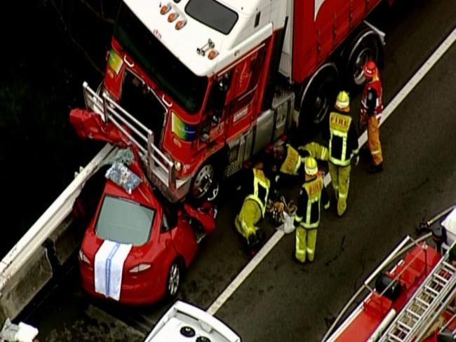 Emergency services at the crash scene. Picture: Channel Nine News.