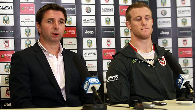 Dragons coach Steve Price and Ben Creagh address the media.