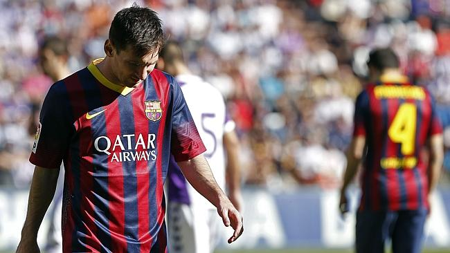 Barcelona's heads drop during the shock defeat to Valladolid.