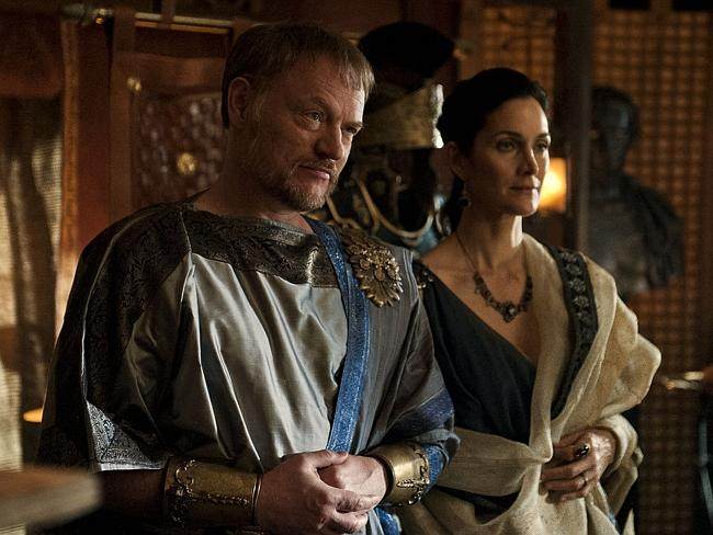 It's a swords and sandals spectacular ... Severus (Jared Harris) and Aurelia (Carrie-Anne Moss) star in Pompeii.