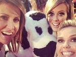 "We take a look at all the highlights of The Logies 2014 through the eyes of the stars! The Sunrise cash cow making a red carpet entrance with Nat, Sam and Eddy. ""We really milked that.. Cash cow on the red #Logies carpet #sun7 @sam_armytage."" Picture: Instagram"