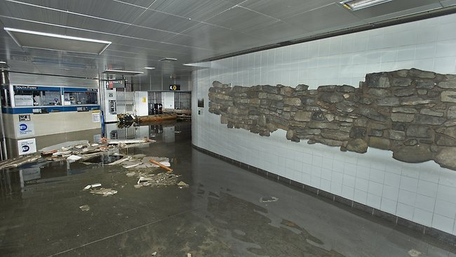 This photo provided by the Metropolitan Transportation Authority shows the South Ferry subway station after it was flooded during superstorm Sandy.