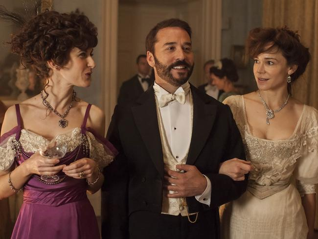 Katherine Kelly (Lady Mae Oxley), Jeremy Piven (Mr Selfridge) and Frances O'Connor (Mrs Selfridge) in a scene from  <i>Mr Selfridge</i>.