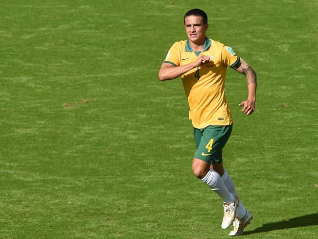 Australian forward Tim Cahill celebrates after scoring during a group B World Cup match against the Netherlands.