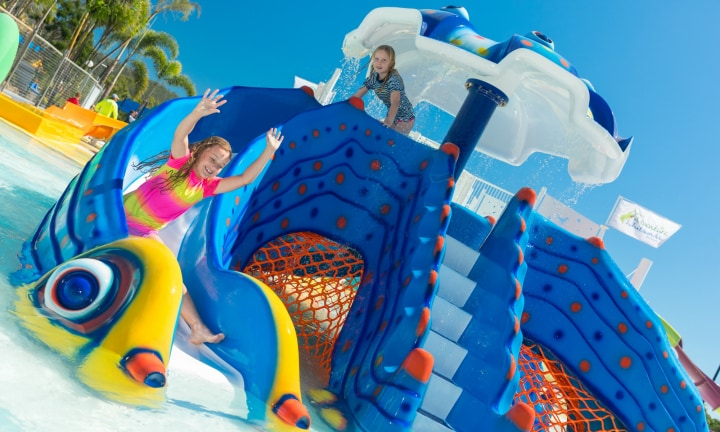 Built especially for young families, the slides come off a two-metre-high platform and are linked by bridges and stairways. The park is the same size as an Olympic swimming pool, with a brightly-coloured design that water babies will find impossible to resist.