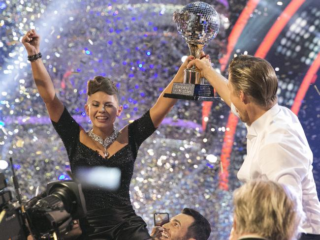 Top dancer ... Bindi Irwin and Derek Hough were crowned Season 21 champions of Dancing with the Stars. Picture: Getty