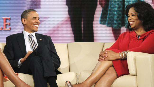 US President Barack Obama with Oprah Winfrey during a taping of The Oprah Winfrey Show at Harpo Studios in Chicago.