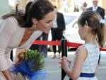 Catherine Duchess of Cambridge greets a young fan as she tours Elizabeth in Adelaide. Picture: Naomi Jellicoe