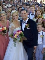 Fairytale beginning: Musical theatre star Lucy Durack married choreographer Chris Horsey on Rottnest Island.