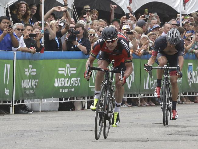 Cadel Evans leads Joseph Rosskopf in a race to the finish line during the Tour of Utah sixth stage.