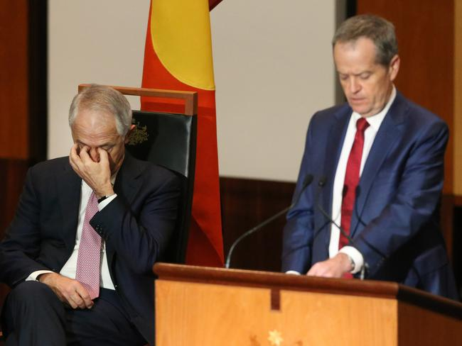 Malcolm Turnbull looks to have tuned out while Bill Shorten speaks during the Welcome to Country Ceremony for the start of the 45th Parliament. Picture: Gary Ramage