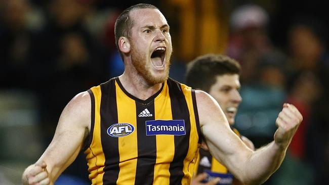 Jarryd Roughead starred in his milestone game, leading Hawthorn to victory over Sydney. Picture: Michael Klein
