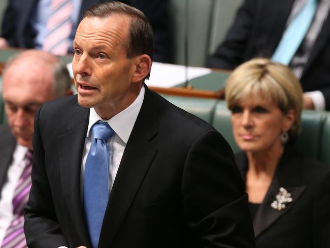 Fighting for their freedom ... Prime Minister Tony Abbott speaking about the Peter Greste case at the start of Question Time in the House of Representatives Chamber in Parliament House in Canberra. Picture: Kym Smith